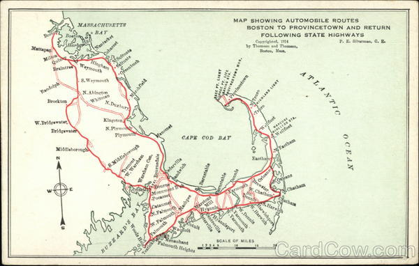 Map showing automobile routes Boston to Provincetown and Return Cape Cod Massachusetts