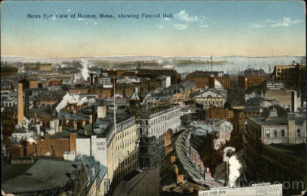 Bird's Eye View showing Faneuil Hall Boston Massachusetts