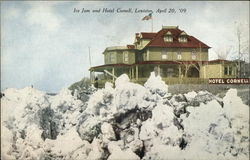 Ice Jam and Hotel Cornell Postcard