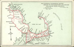 Map showing automobile routes Boston to Provincetown and Return Postcard