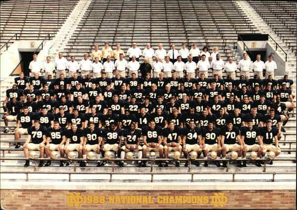 Notre Dame 1988 National Champions South Bend Indiana