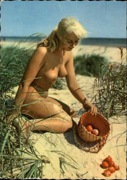Nude Blonde Woman on Beach with Basket of Plums Risque & Nude