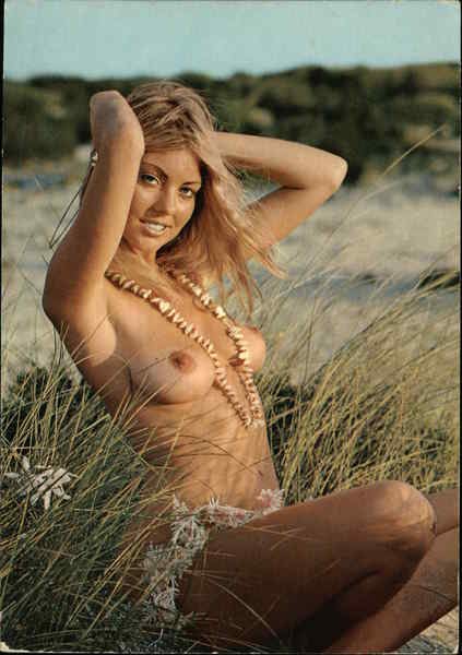 Nude Blonde Woman in Field Risque & Nude