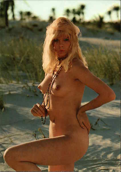 Nude Blonde Woman on Beach Risque & Nude