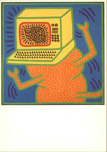 Keith Haring 1984 Acrylic On Canvas Painting