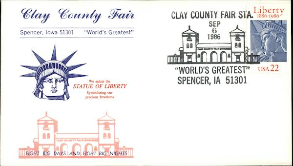 Clay County Fair, World's Greatest Spencer Iowa First Day Covers