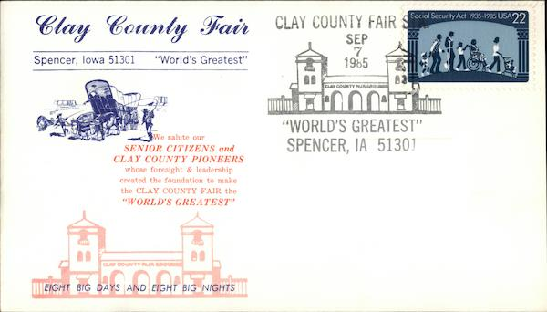 Clay County Fair Spencer Iowa First Day Covers