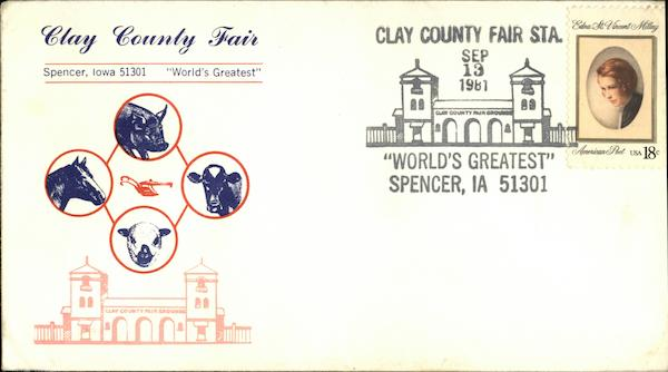 Clay County Fair World's Greatest Spencer Iowa First Day Covers