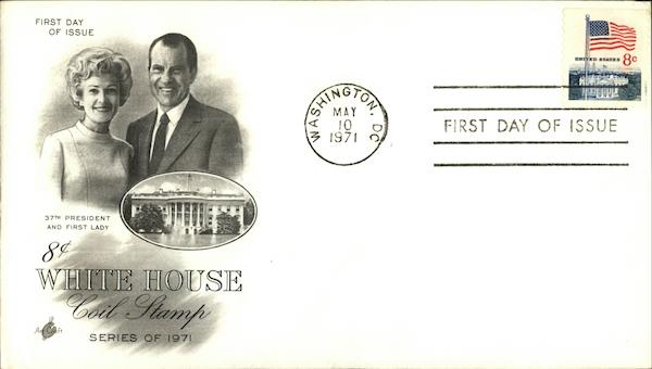 37th President and First Lady 8 Cents White House Coil Stamp, Series of 1971
