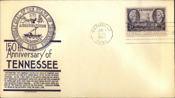 150th Anniversary of Tennessee, First Day of Issue