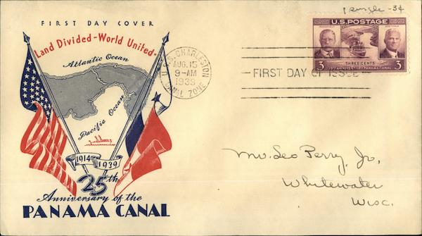 25th Anniversary of the Panama Canal, 1914-1939, First Day Cover, Land Divided-World United