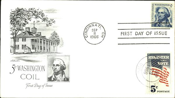 5 Cent Washington Coil, First Day of Issue First Day Covers