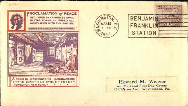 Proclamation of Peace, April 19, 1783 First Day Covers