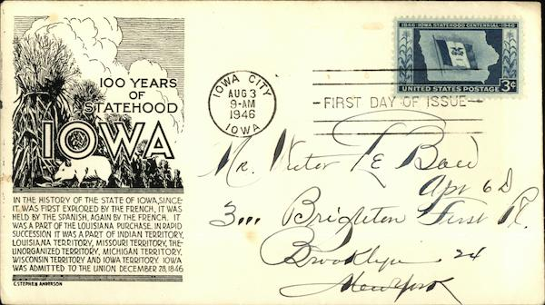100 Years of Statehood Iowa, First Day of Issue First Day Covers