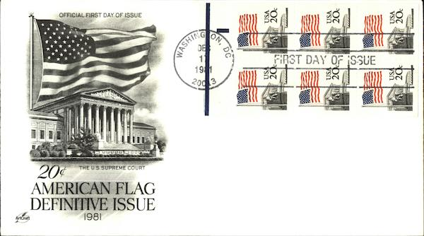 20 cent American Flag Definitive Issue 1981, Official First Day of Issue, The U.S. Supreme Court