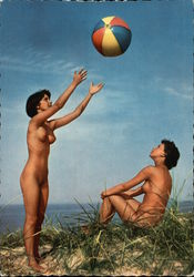 Naked Women Playing with Beach Ball