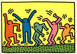 Keith Haring Painting of Dancing Figures