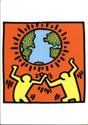 Keith Haring Painting of Two Figures Holding The World