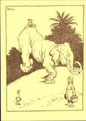 A Jamboree of Laughter by W. Heath Robinson, Assisting a weary Elephant to Keep His End Up Postcard