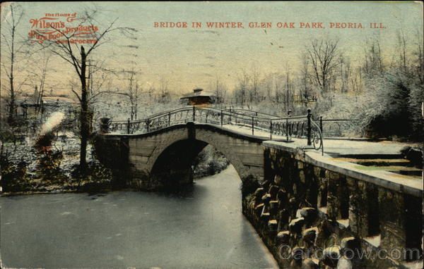 Bridge in winter glen oak park peoria il for Oak glen park