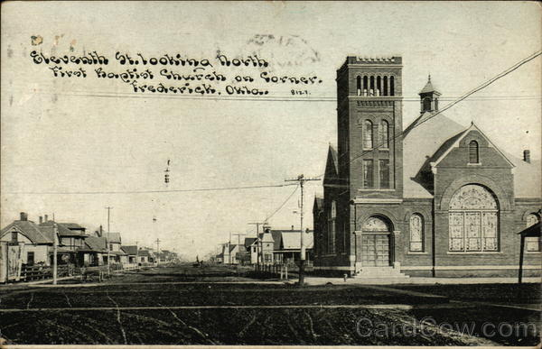 Seventh St. Looking North, First Baptist Church on Corner Frederick Oklahoma