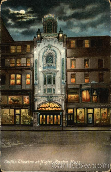 Keith's Theatre at Night Boston Massachusetts