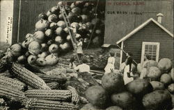 Women and Giant Corn, Potatoes and Onions
