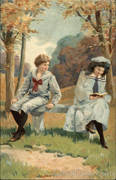 Boy and Girl on Bench by Path Children
