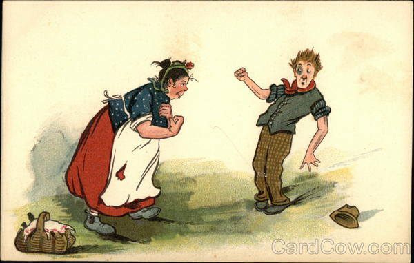 Large Woman in Red Skirt and White Apron Getting Ready to Punch Man with Black Eye