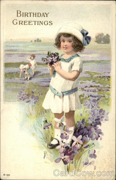 Birthday Greetings - Young Girl with Flowers