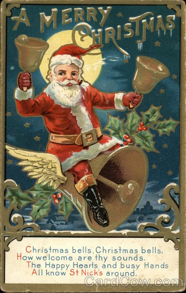 A Merry Christmas-Santa Claus Ringing Bells