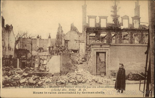 House in Ruins Demolished by German Shells Military