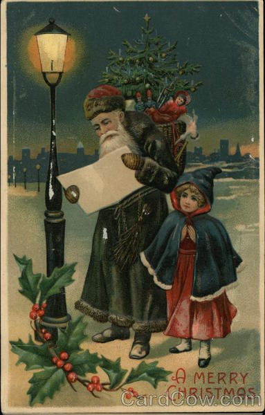 A Merry Christmas - Santa and Girl under street lamp in the snow