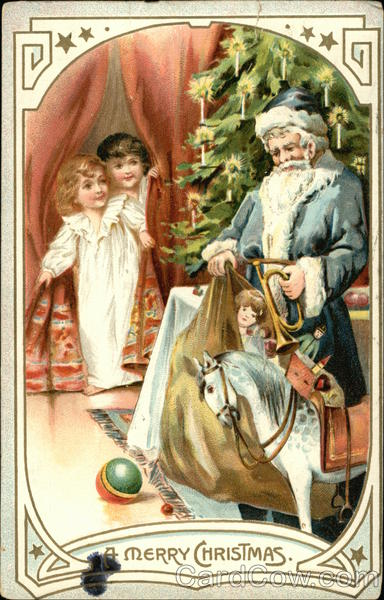A Merry Christmas - With Santa Unloading Toys in front of Tree and Children Peaking from Curtain