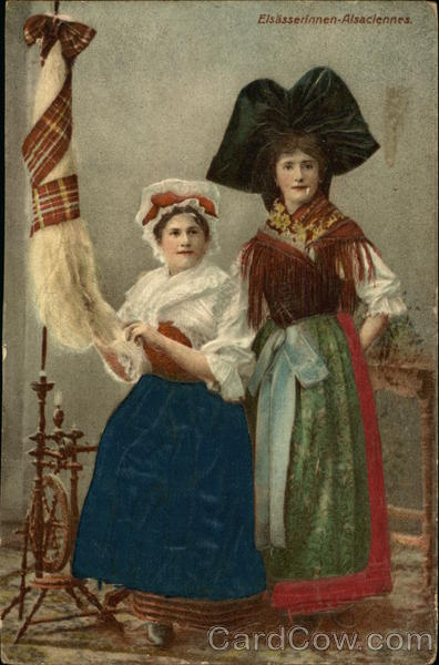 Two Women in Costume Spinning Wool Silk & Fabric Applique