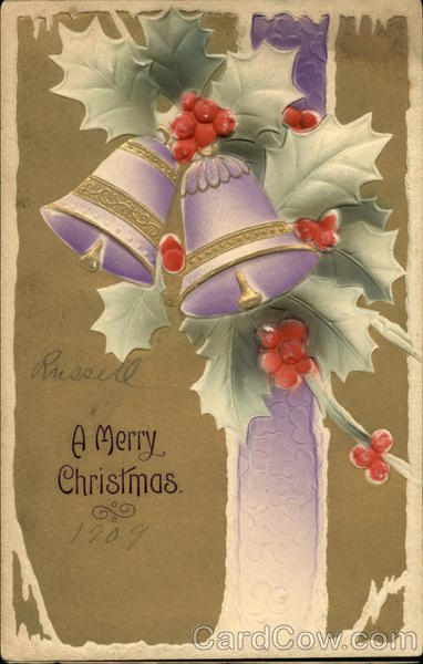 A Merry Christmas - With Embossed Bells and Holly