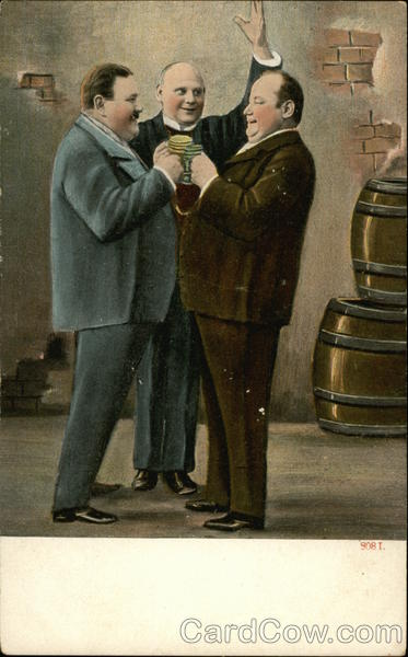 Two Fat Men Toasting Postcard