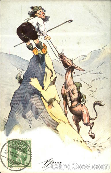 Swiss Mountain Climber Dragging Horse Up Peak Comic, Funny