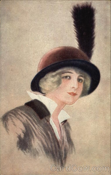 Portrait of Woman in Hat with Feather Women