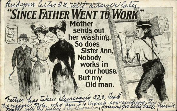 Since Father Went to Work Mother Sends Out Her Washing, So Does Sister Ann