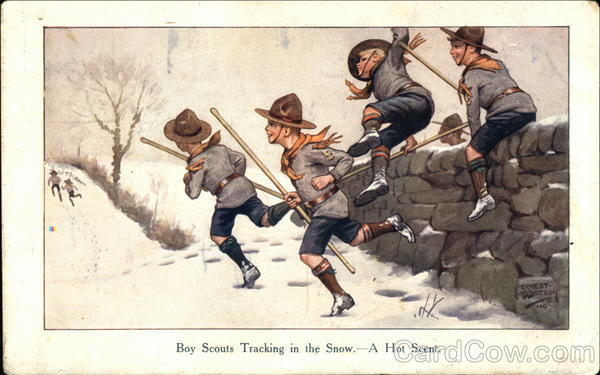 Boy Scouts Tracking in the Snow - A Hot Scent Ernest Ibbetson