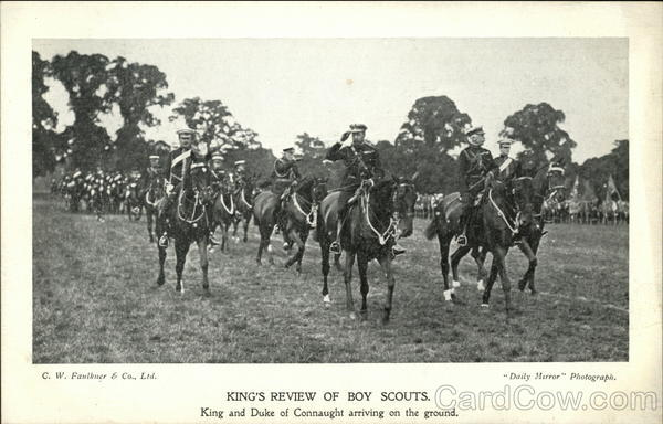 King's Review of Boy Scouts, King and Duke of Connaught Arriving on the Ground