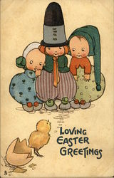 Loving Easter Greetings - Three Children and a Newly Hatched Chick