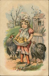 Little Girl Holds Chicks In Her Apron