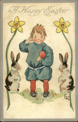 """A Happy Easter"" - With Child, Two Bunnies, and Daffodils"