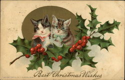 Best Christmas Wishes - Two Cats and Holly