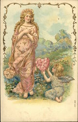 Little Girl Angel Presenting Heart of Pink Flowers to Woman in Pink Gown