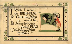 I Wish I Were the Irish Flag if You the Harp Would be, I'd Never let Your Ardor Flag Postcard