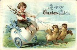 Happy Easter-Tide - Witih Boy on Egg Cart with Two Chicks