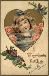 To My Heart's Best Love - Young Girl with Flowers in Heart Shaped Inset